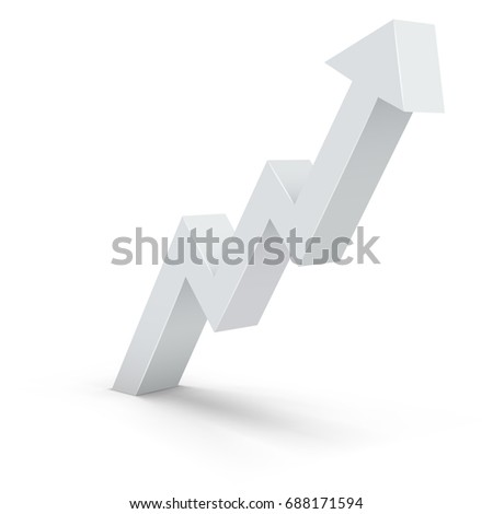 Abstract white zig-zag up arrow business vector background with copy space.