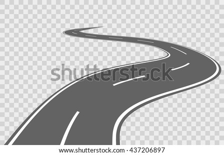 Abstract winding highway road for transportation asphalt travel street. Vector illustration
