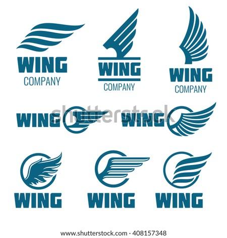 abstract wings vector logo set