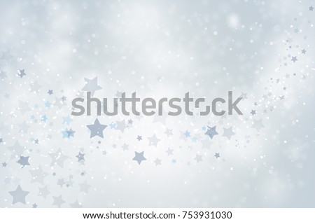 Abstract winter background with snowflakes and stars - vector illustration