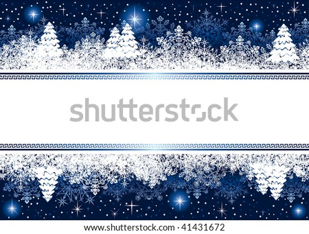 Abstract winter background, with snowflakes, stars and Christmas tree, illustration