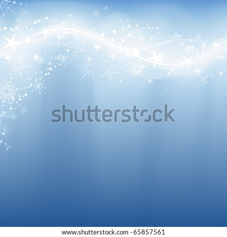 Abstract winter background with stars, snow flakes and grunge elements in shades of pale blue.