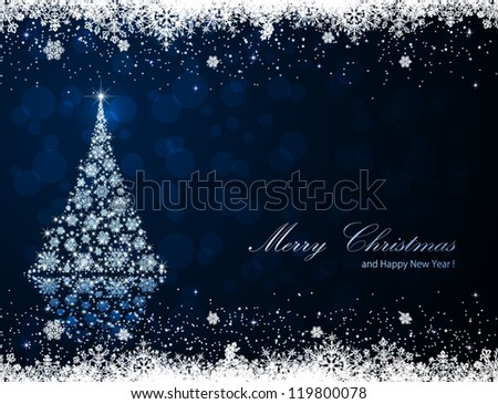 Abstract winter blue background with Christmas tree and snowflakes, illustration.