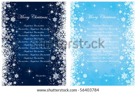 Abstract winter blue backgrounds, with stars and snowflakes, illustration