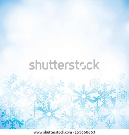 abstract winter blue snowflakes