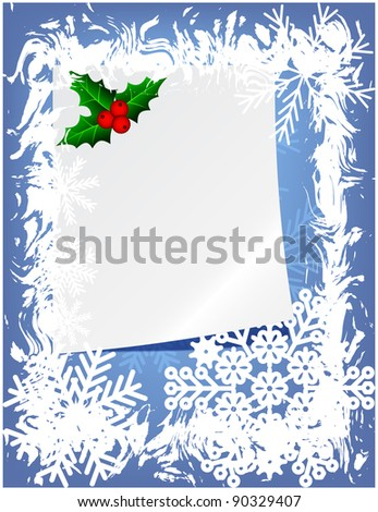 Abstract winter frame with paper sheet and mistletoe