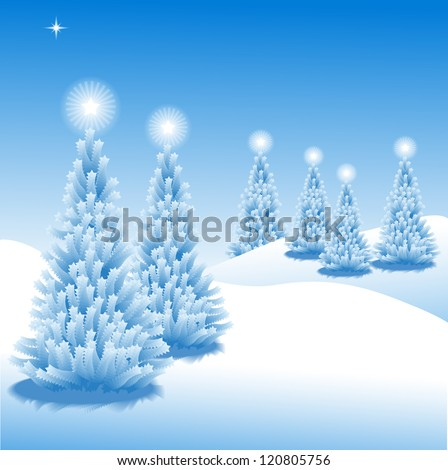 Abstract winter vector background scene with  snowy christmas trees