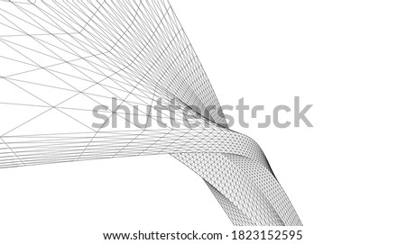 Abstract wired geometric shape 3d Photo stock ©