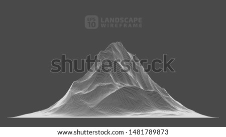 Abstract wireframe background. 3D grid technology illustration landscape. Digital Terrain Cyberspace in the Mountains with valleys. Data Array. Vector Illustration.
