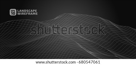 Abstract wireframe background. 3D grid technology illustration landscape. Digital Terrain Cyberspace in the Mountains with valleys | EPS10 Vector. #680547061