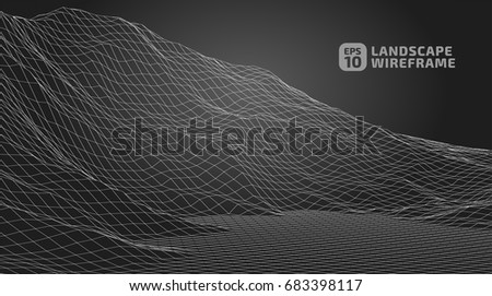 Abstract wireframe background. 3D grid technology illustration landscape. Digital Terrain Cyberspace in the Mountains with valleys | EPS10 Vector. #683398117