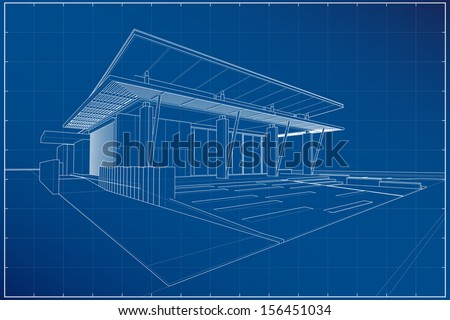Abstract wireframe blueprint of 3D building - Vector illustration