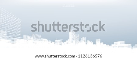 Abstract wireframe city background. Perspective 3D render of building wireframe. Vector illustration.