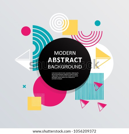 Abstract with circle badge, geometric pattern design and background. Use for modern design, flyer, decorated, card, template and cover. EPS 10 Vector. #1056209372