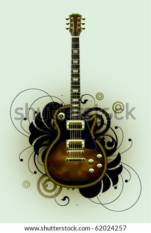 Abstract with guitar and design elements