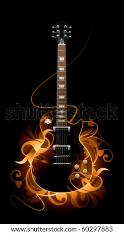Abstract with guitar on a black background