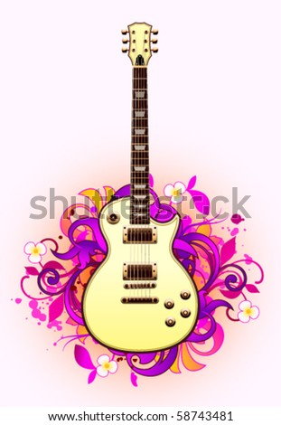 Abstract with guitar on a light background