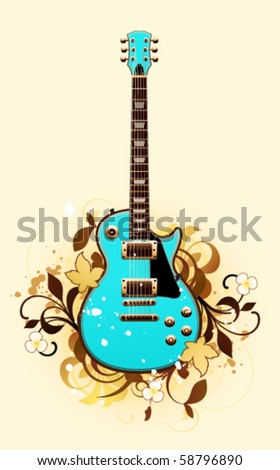 Abstract with guitar on a yellow background