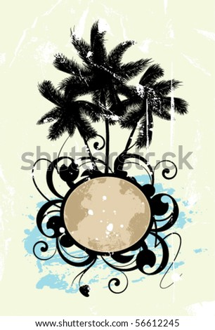 Abstract with palm trees on a textured background