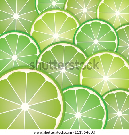 Abstract with pattern limes slices from background