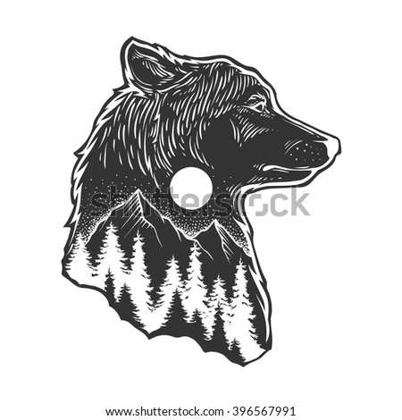 Abstract wolf and forest
