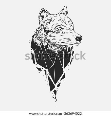 abstract wolf head hand draw