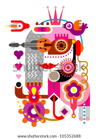 Abstract woman face. Artwork vector illustration on white background.