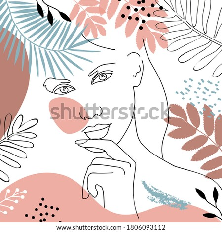 Abstract woman face line drawing.Vector portret minimalistic style. Stockfoto ©