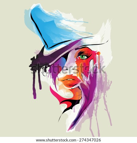abstract woman face vector
