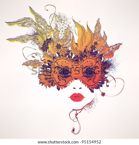 Abstract woman face with flowers. Fashion illustration