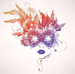 Abstract woman face with flowers. Vector colorful illustration