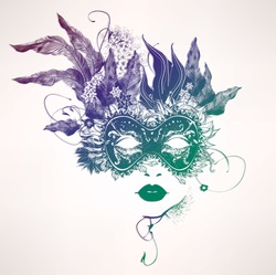 Abstract woman face with flowers. Vector fashion illustration