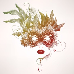 Abstract woman face with flowers. Vector multicolor illustration