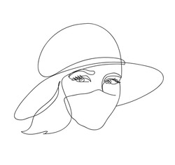 Abstract woman face.Young attractive girl in a mask and hat. Concept fashion summer 2020. Black and white hand drawn line art. Outline vector illustration.