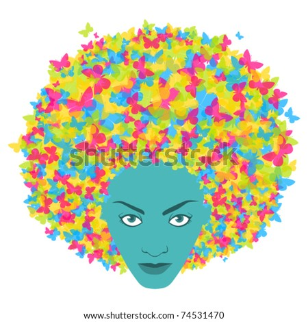 Abstract woman head with butterfly. Vector illustration.