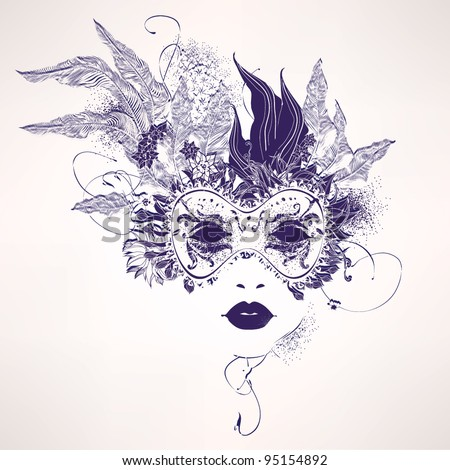 abstract woman mask with flowers
