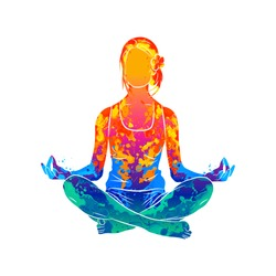 Abstract woman meditating from splash of watercolors. Lotus yoga pose Fitness. Vector illustration of paints