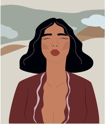 Abstract woman portrait. Trendy illustration in minimalistic style. Background, landscape. Vector print poster, card, invitation, t-shirt