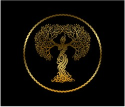 Abstract woman tree logo with gold shiny and metallic color, vector