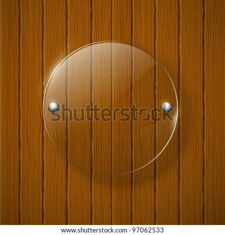 Abstract wooden background with glass framework. Vector illustration.
