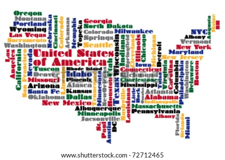 abstract word cloud based vector map of USA