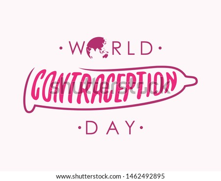 Abstract world contraception day letter with condom. Holidays around the world of contraception day. Vector illustration EPS.8 EPS.10