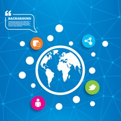 Abstract world globe. Social media icons. Chat speech bubble and Share link symbols. Short messages twitter retweet sign. Human person profile. Molecule structure background. Vector