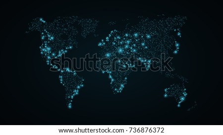 Digital technology earth world map on blue background with dots abstract world map blue map of the earth from the square points dark blue gumiabroncs Images