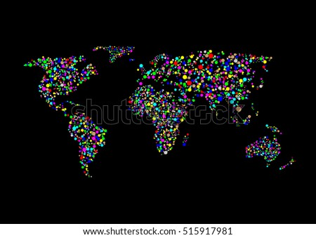 abstract world map colorful