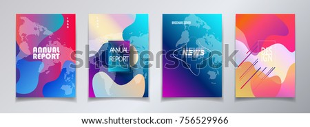 Abstract world map covers template set, bauhaus memphis and hipster style graphic fluid color bubbles geometric elements. Annual report, news letter placard brochure, poster, banner promo flyer vector