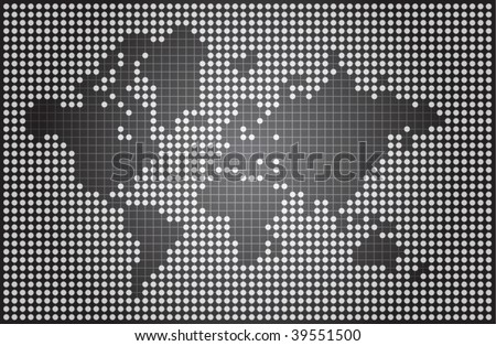 stock vector : Abstract world map made of dots and lines