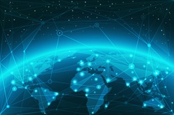 Abstract world map network vector background, world web connection illustration.