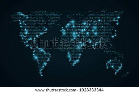 Abstract world map of binary code. Glowing map of the earth. Dark blue background. Blue lights. High tech. Sci-fi technology. Programming, big data. Global network. Vector illustration. EPS 10