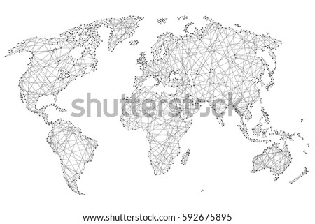Free world map 45 lines vector abstract world map of polygonal lines and dots on a white background of vector illustration gumiabroncs Image collections
